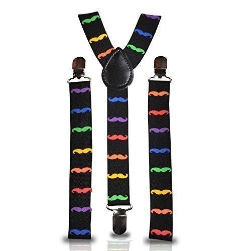 25 mm, verstellbar, schlankes Design, Unisex, elastische Hosenträger zum Anklippen für Fancy Dress (Schnurrbart), (Schnurrbart Dress Fancy)