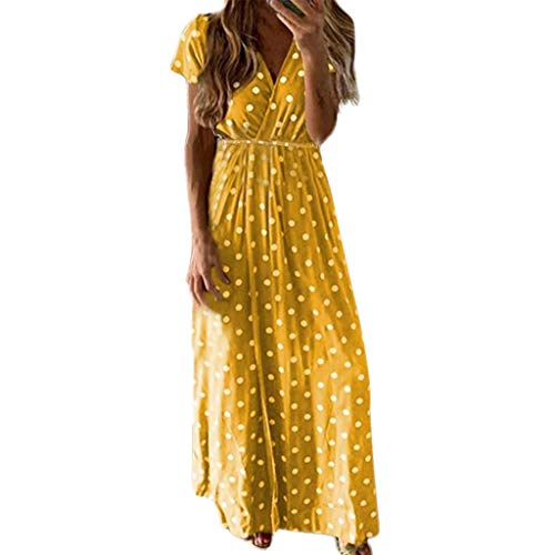 Damen Punkt Taille Lange Kleid, LeeMon Boho Lange Kleider V-Ausschnitt Sommerkleider Kurzarm Wickelkleid Maxikleid Strandkleid mit Schlitz Top 10 Herren Schuhe