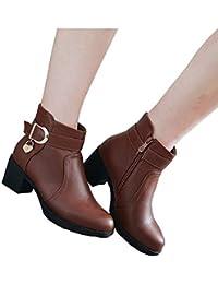 Chaussures Femmes, Femmes en Cuir Bruckle Strap Chaussures Bout Rond en  Cuir Carré Bottes à Talons Hauts… 4023bea9198