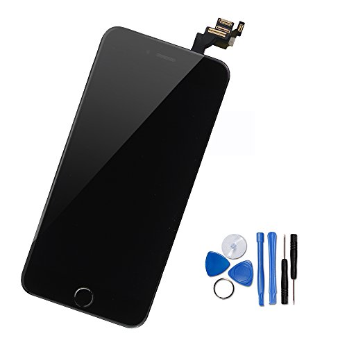 Yodoit iPhone 6 LCD Touchscreen Digitizer Front Komplettes Glas Display Retina Reparatur Ersatz Bildschirm Schwarz mit Home Button,Hörmuschel, Frontkamera& Näherungssensor+Werkzeugset (4.7 - 6 Plus Iphone Austausch Lcd