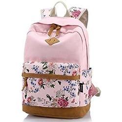 icase4u® Multi-Función Moda Mochila Bolsa Escolar Tipo Casual Bonita de Lona de Viaje Mochila de Marcha para Picnic para Mujer o Chica Buena Calidad (Flores-rosa1)