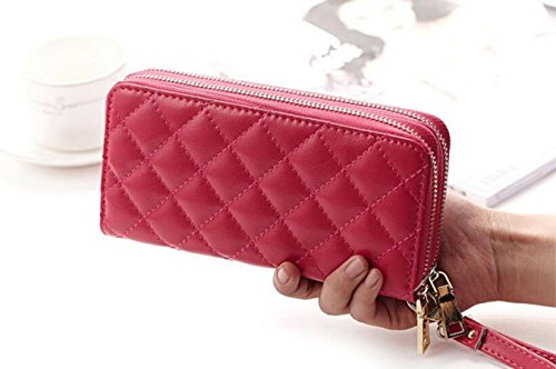 DcSpring Portafoglio in Pelle Pochette Portamonete Wristlet Borsa Cerniera per Donna (Rosa rosso) Rosa rosso