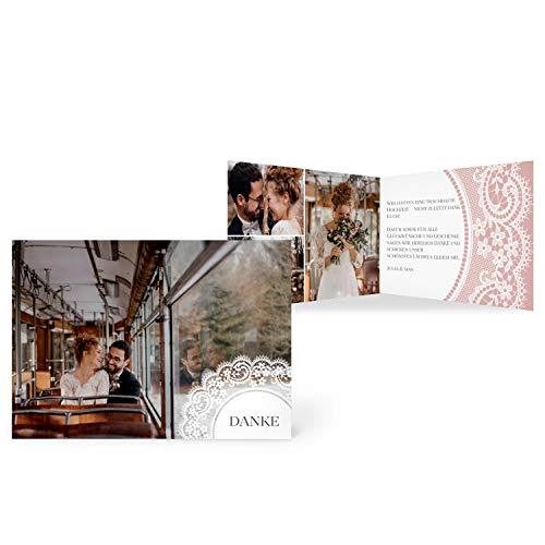 greetinks 30 x Dankeskarten zur Hochzeit 'Boho Spitze' in Rosa | Personalisierte Danksagungskarten zum selbst gestalten | 30 Stück Danksagung Karten