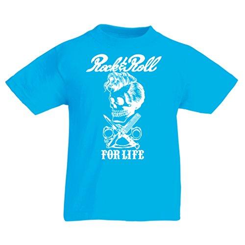 Camiseta Niños/Niñas Rock and Roll for Life - 1960s, 1970s, 1980s - Banda de Rock Vintage - Musicalmente - Vestimenta de Concierto (9-11 Years Azul Claro Multicolor)