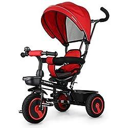 Fascol 6 en 1 Triciclo para Niños con Asiento Giratorio Adecuado para Mayores de 12 Meses - 5 años Color Roja