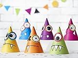 Lustige Monster-Party-Hüte Geburtstagshüte in 6 Farben 6 Stück DIY mit Palandi® Sticker