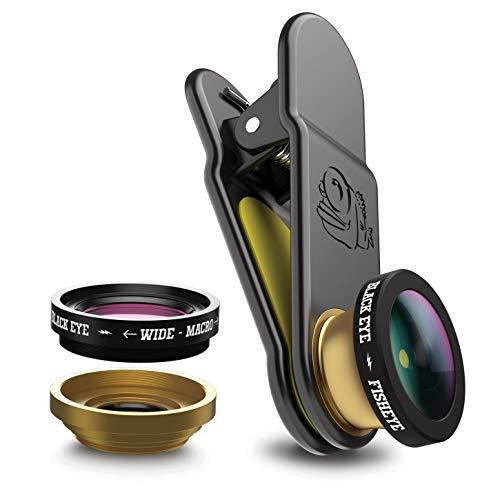 Black Eye Premium Smartphone Objektiv - 3 in 1 Set (Fish Eye 180°, Weitwinkel 155°, Macro 20X)