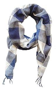 Schal Tuch für Damen und Herren Amira, 70x180 cm, blau weiß kariert, Damentuch, Herrenschal