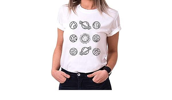 branch/é T-Shirt pour Femme avec imprim/é O-Neck /à la Mode /À Manches Courtes T-Shirts Femme col Ras du Cou Habibi Imprim/és