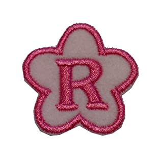 Embroidered Individual Flower Felt Letters&Numbers SewOn/IronOn/StickOn 4cm tall (SEW ON, Letter R)
