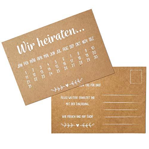Partycards Hochzeitseinladungen \'Wir heiraten\' echtes Kraftpapier mit weißem Druck 60 Karten DIN A6 Einladungskarten Hochzeit \'Save the Date\'