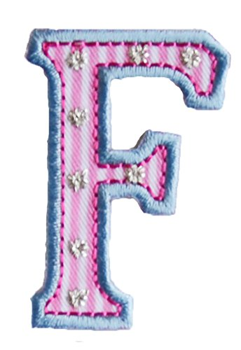F Pink Blue ABC letter 9cm big for clothing fabric names crafts jeans to iron on dresses cap jacket neckerchief ceiling flag pants plate backpack trousers cushion scarf bunting bag hat door hat skirt to personalise gifts for mend wall applique personalise arts sewing decorating wall personalise idea idea iron on patches creative craft sew on birth decorating toddler motifs sewing gift room children idea clothes kids birthday hobby fabric child letters diy nursery christening arts persona