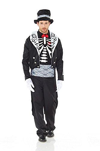 Herren-Kostüm BRÄUTIGAM - DIA DE LOS MUERTOS Gr. M/L (Skelett Bräutigam Kostüm)