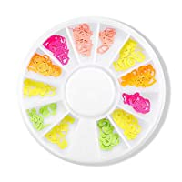 DIY Nail Art Stickers Artificial Flower Fluorescent Color Nail Sticker 12 Mixed Nail Accessories By Windwide (B)