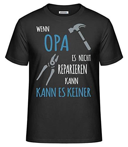 Opa T-shirt (Shirtinator Lustiges T-Shirt für Opa I Wenn Opa es Nicht reparieren kann Geschenk-Idee für Opa I Herren T-Shirt Original (Schwarz, XL))