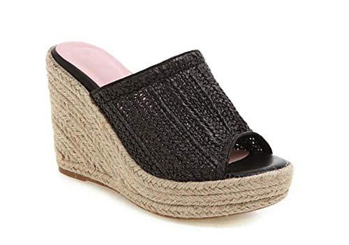 GLTER Donne Peep Toe Platform Wedge Sandali 2019 Estate New Super High Heel Knit Pantofole Outdoor Confortevole Mules Size 34-43 (Colore : Nero, Dimensione : 43 EU)