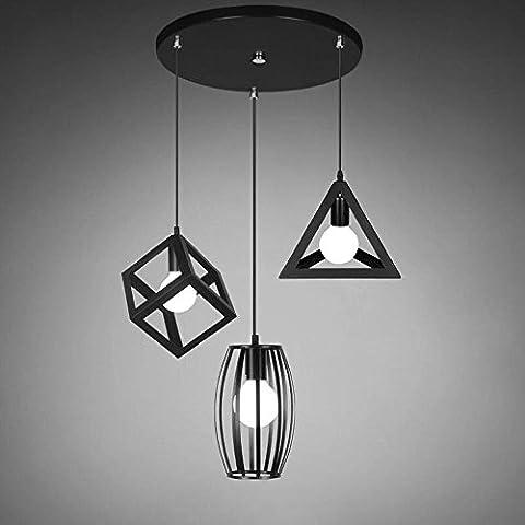 Pendentif Light Pendant Light 3 Feuilles Iron Rope ajusté pour salon, chambre à coucher
