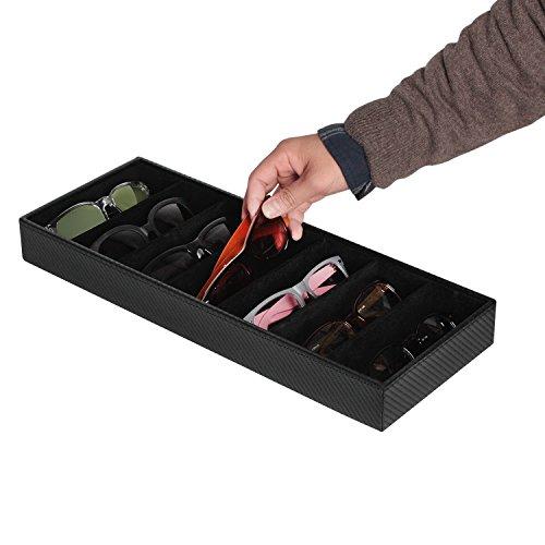 JackCubeDesign Leder 7 Fächer Brillen Display Organizer Brillen Sunglass Aufbewahrungskoffer Box Eyewear Tablett Ständer Open Top Suede Innen (Carbon Design Schwarz, 44,2 x 17 x 5 cm) -: MK378A