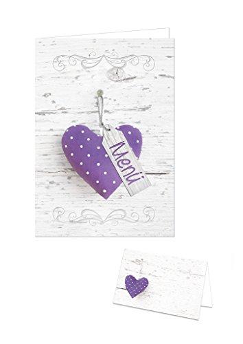 55 - 60 Personen): violett-lila-flieder-farben-weiß HERZ gepunktet Holz-Optik 64 Tisch-Platz-Sitz-Namens-Karten + 24 Menü-Speise-Karten für Hochzeit, Kommunion, Geburtstag (Party Tisch-ideen)