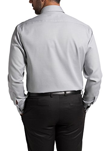 Eterna Long Sleeve Shirt Comfort Fit Oxford Structured Grigio