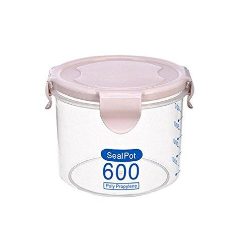 Gemini _mall Lebensmittelbehälter aus Kunststoff für Snack, Tee, Kaffee, Kanister mit Deckel, 600ml/800ml/1000ml, plastik, farblos, 600 ml