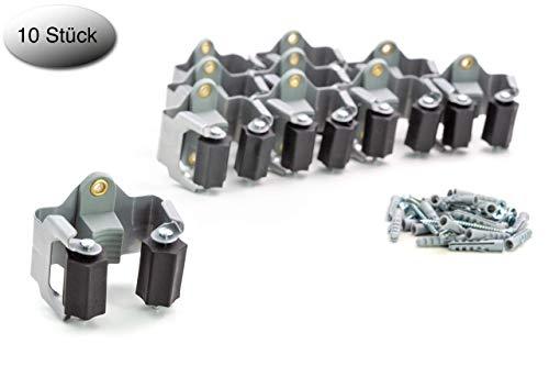 BS Premium Gerätehalter 10er Set hochwertiger Besenhalter Wandhalter optimale Aufbewahrung der Gartengeräte - Haushaltsgeräte - Werkzeuge - Gratis Schrauben und Dübel inklusive Montageanleitung