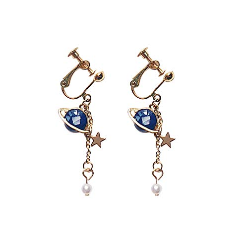 EVBEA Ohrringe Damen Clip Blauer Stern Planet Kreis Anhänger Schmuck Damen Geschenk für Frauen und Mädchen -