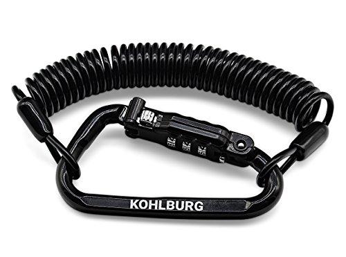 KOHLBURG extra-langes Zahlenschloss für die Tasche - sehr leicht mit 180cm langem Spiralkabel - Kabelschloss ALS Diebstahlschutz für Kinderwagen Gartenmöbel, ALS...