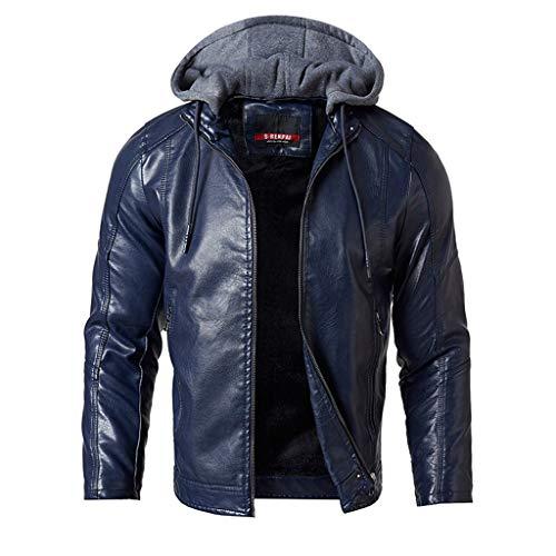 FRAUIT Plus Size Männer Verdickung Motorradjacke Fleece Mantel Herren Kapuzenjacke Straßenmann im Winter - Plus Herren-winter-mäntel Size