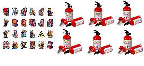 KSS Kindergeburtstag 6 X Feuerwehranspitzer und 6 X Tattoo Feuerwehr Mitgebsel , Mitbringsel , Tombola , Verlosung