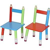 Set de 2 chaises assorties pour enfant Crayons géants multicolores en bois La chaise longue 32-E1-007