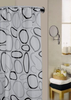 pebble-black-water-repellent-polyester-shower-curtain-including-12-curtain-rings