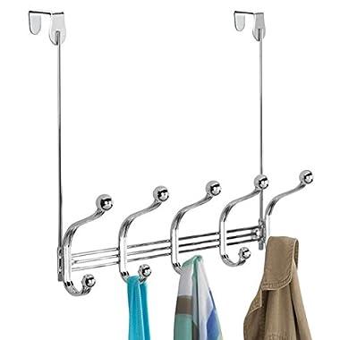 mDesign Türgarderobe mit 5 Doppelhaken – Garderobenhaken für die Tür oder Wand – Hakenleiste für Mäntel, Jacken, Bademäntel, Handtücher – Chrom