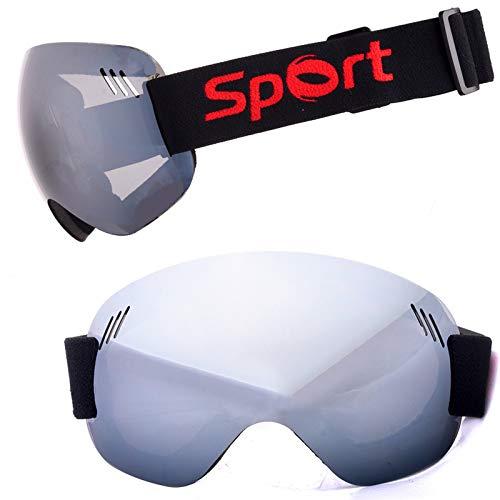 Yiph-Sunglass Sonnenbrillen Mode Neue Männer Frauen Skibrille Anti-Fog und Sand-Beweis große sphärische Brille zum Klettern Schneebrille (Color : Silver)