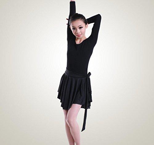 Latin Dancing Girl Dance Kostüm Erwachsene Kinder Langarm Tanzen Kleid Freestyle Dance Kostüm Dance Kostüm Wettbewerb Schwarz, - Freestyle Dance Wettbewerbs Kostüm