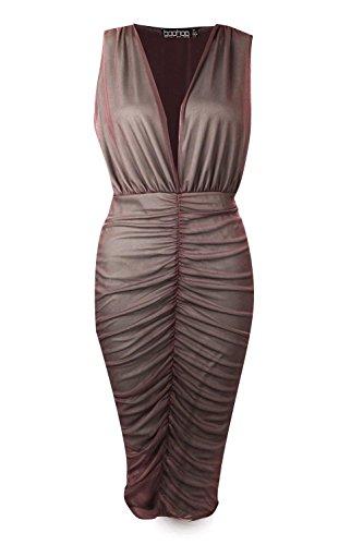 Khaki Damen Ray Gerafftes Midikleid Aus Netzstoff Mit Kontrastfutter Khaki
