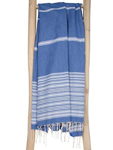 Fouta de Plage BIARRITZ 100x190 cm Bleu Blanc - Serviette de Hammam Drap de Plage 100% Coton - Foutas Design Unique ZusenZomer