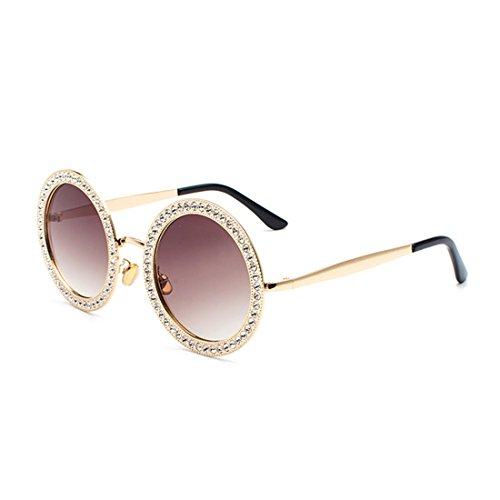 Inlefen Damen Super Runde Strass Sonnenbrille Metallrahmen Polycarbonat Linse