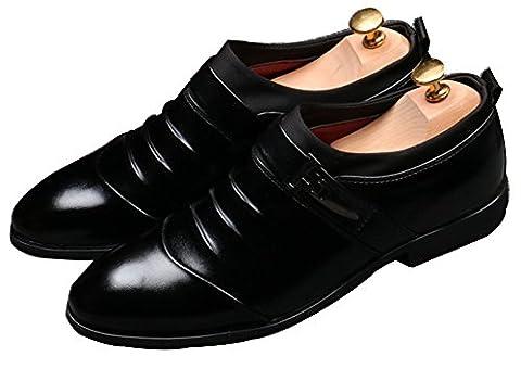 Anlarach Hommes Gents Occasionnels Noir Smart Formal Business Dress Glisser Sur Chaussures Ascenseur Noir 43 EU