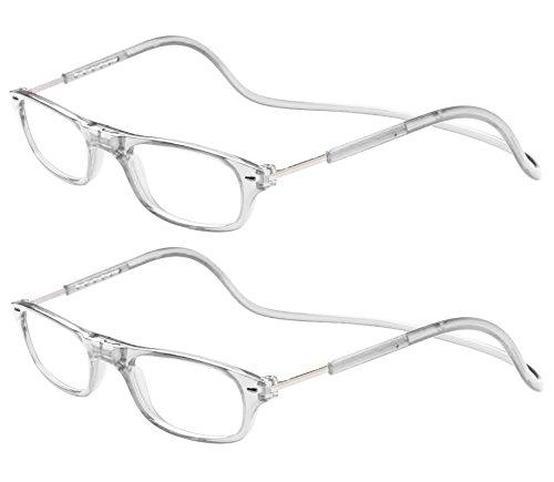 Tboc pack: occhiali da vista lettura presbiopia - (due unità) graduati +1.50 diottrie montatura trasparente regolabili pieghevoli chiusura clip magnetici vicino donna uomo appendere collo