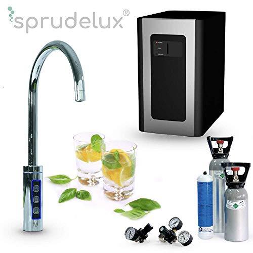 Untertisch-Trinkwassersystem SPRUDELUX RED Diamond inklusive 3-Wege-Zusatzarmatur + 6 kg. Profi-Wassersprudler für den Privathaushalt. Spritziges Mineralwasser/Sprudelwasser + kochend heißes Wasser