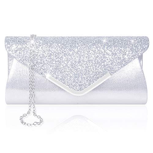 Larcenciel Damen Clutch Abendtasche Unterarmtasche Umhängetasche mit Strass-Steinen und abnehmbarer Kette in den Farben Silber Gold Altrosa(Silber)