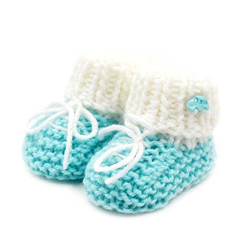 Newborn Baby Booties-Handmade Crochet- Baby Booties Sneakers-Green Sneakers-Green-0-3 mths (Crochet Booties Baby)