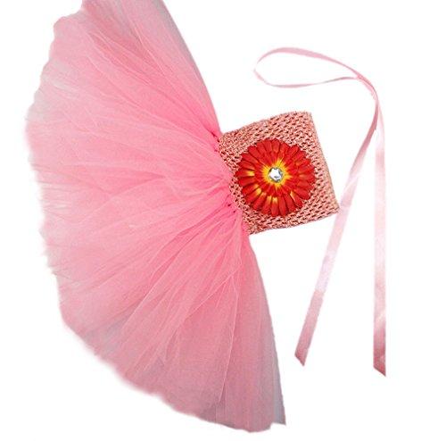 Honeystore Mädchen Spitze Prinzessin Rock Sommer Blumen Kleider für Baby Kleinkinder Kinder 0-2 Jahre alt Medium Rosa-02 mit Chrysantheme