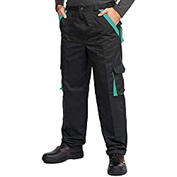 Mazalat® Pantalons de Travail pour Hommes avec des Poches genouillères, Pantalon Cargo Homme Multi Poches, Made in EU (XXL, Noir/Vert)