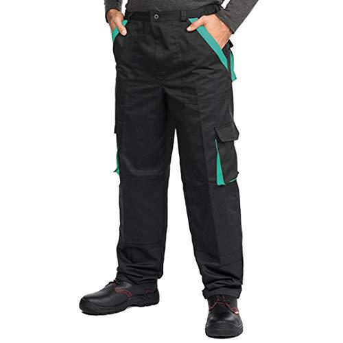 Pantaloni da Lavoro Uomo Multitasche, Taglie Grandi S-3XL, Salopette da Lavoro, Tuta da Lavoro Uomo, Blu, Nero (XXL, Nero/Verde)