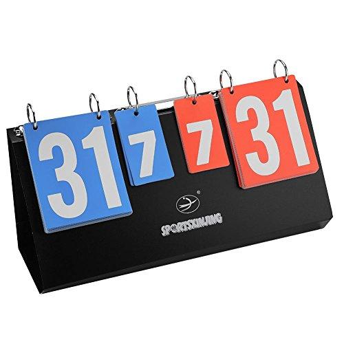 Dilwe Sport Anzeigetafel, Tragbare Wasserdichte Tischplatte Punktzahl Flipper für Basketball Tennis Training Bild groß