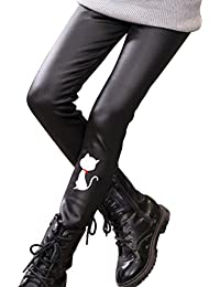 BESTOYARD Pantalon Cuir Slim Collant en Faux Cuir Legging Cuir Filles Enfant  120CM (Chat Blanc b94a2150b5a5