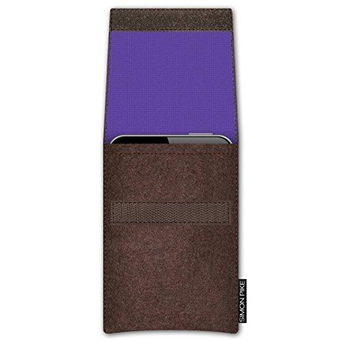 SIMON PIKE Apple iPhone SE/5S/5C/5 Filztasche Case Hülle 'Sidney' in braun 15, passgenau maßgefertigte Filz Schutzhülle aus echtem Natur Wollfilz, dünne Tasche im schlanken Slim Fit Design für das iPh braun Filz (Muster 5)