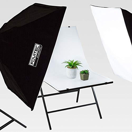 Fovitec Studio-Tisch für Produktfotografie, 61 x 101 cm, tragbar und zusammenklappbar, für Makro- und Stillleben-Fotografie, mit doppelseitigem, nicht reflektierendem, weißem Hintergrund (Weißen Hintergrund Zusammenklappbar)